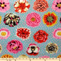 Kaffe Fassett Big Blooms - Duck Egg - per quarter metre